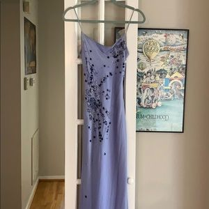 Blue beaded floor length silk dress